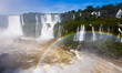 Quadro Rainbow over Cataratas del Iguazu waterfall, Brazil