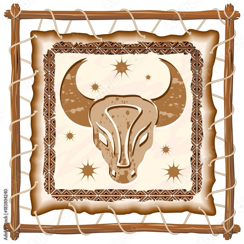 Foto op Canvas Draw Taurus Zodiac Sign on Native Tribal Leather Frame