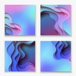 Square abstract color 3d paper art illustration set. Contrast colors. Vector design layout for banners, presentations - 183808457