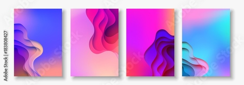 A4 abstract color 3d paper art illustration set. Contrast colors. Vector design layout for banners, presentations, flyer - 183808427