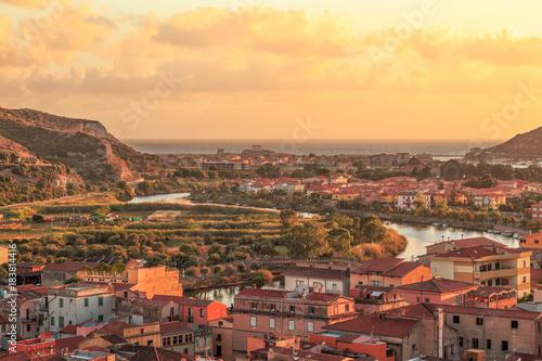 Foto op Canvas Mediterraans Europa Sunset. in Bosa, Sardinia, Italy