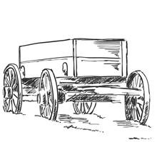Pencil Drawing Old Cart Vintage Transport Sketch Sticker