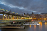 bridge pont de Bir-Hakeim that crosses the Seine River in Paris - 183824422