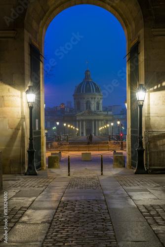 Naklejka River Seine with Pont des Arts and Institut de France at night in Paris
