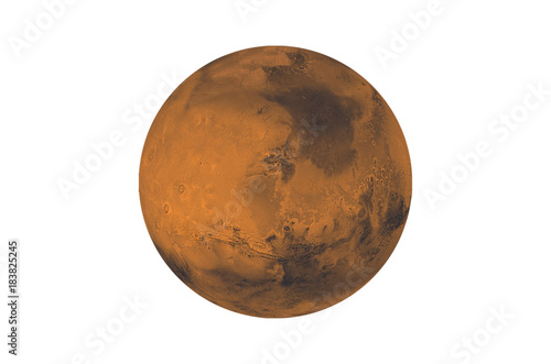 Planet Mars isolated on white. Elements of this image furnished by NASA