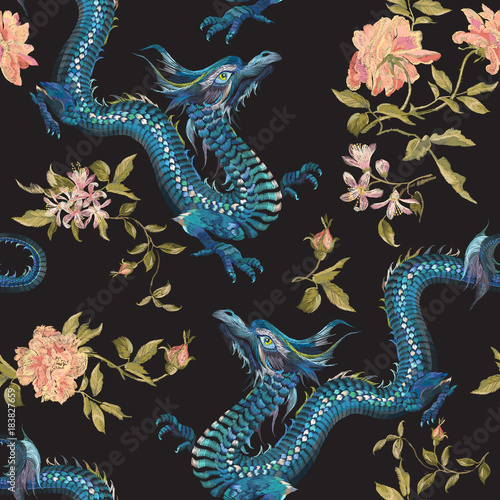 Embroidery oriental floral pattern with dragons and gold roses. Vector seamless embroidered template with flowers and animal for fashion design. - 183827659