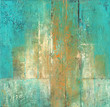 Turquoise and Ocher - Abstract acrylic painting in turquoise and ocher colors.