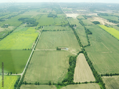 Foto op Canvas Canada Aerial view of green fields in Ontario