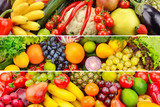 Wide collage of vegetables and fruits
