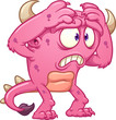 Worried pink cartoon monster. Vector clip art illustration with simple gradients. All in a single layer.  - 183839678