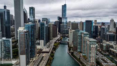 Poster Chicago Aerial City Skyline