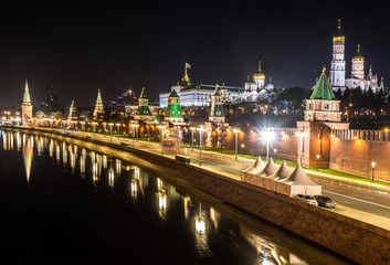Moscow Kremlin at night with reflection in the Moscow river