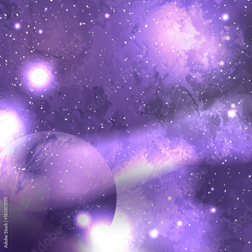 Fototapeta Ultra Violet galaxy space background with planet, starry cosmos. Vector illustration with world outer solar system. Nebula and galaxies in space.