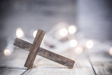 Wooden Chrisian Cross Abstract Background - 183852653
