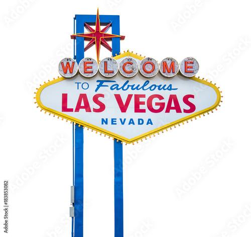 Aluminium Las Vegas The fabulous Welcome Las Vegas sign. Isolated on white background