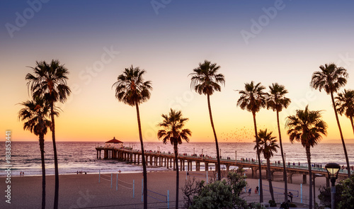 Manhattan Beach Pier at sunset, Los Angeles, California © chones