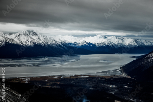 In de dag Grijs Glacial Mountains in Alaska 3