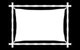 Alpha selection of a banner template with frame of bamboo sticks swathed in rope with canvas.