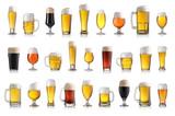 Set of various full beer glasses. Isolated on white background - 183854642