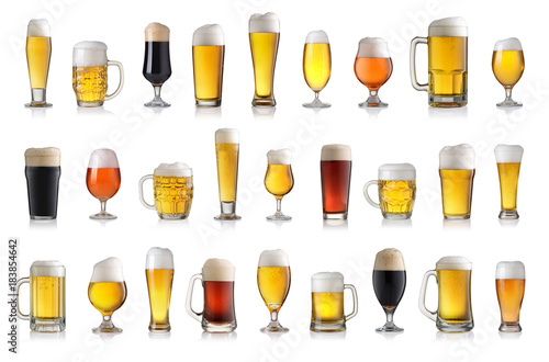 Fototapeta Set of various full beer glasses. Isolated on white background