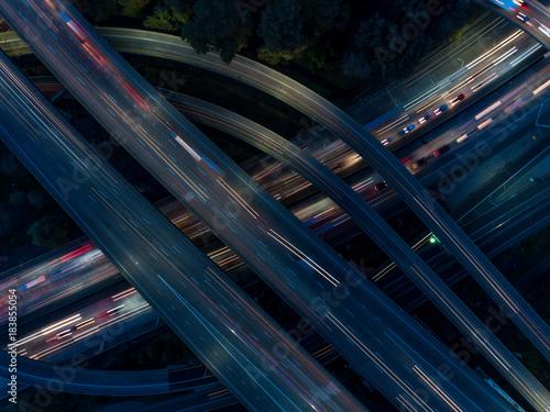 Foto op Aluminium Nacht snelweg Traffic lights from above