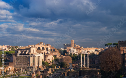 Tuinposter Rome Roman Forum at sunset with clouds