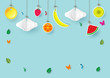 Paper art style of  hanging fruits, clouds and sun for summer sale banner,poster or cards with copy space for text.Vector illustration. - 183863248