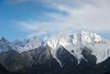 snow mountain against a blue sky