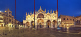 Basilica in San Marco square in Venice at night, panoramic image - 183866866
