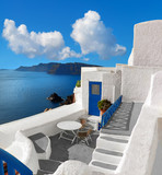 Panoramic image with typical architecture of Santorini island, Greece - 183869452