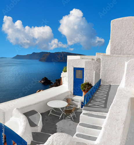 Deurstickers Santorini Panoramic image with typical architecture of Santorini island, Greece