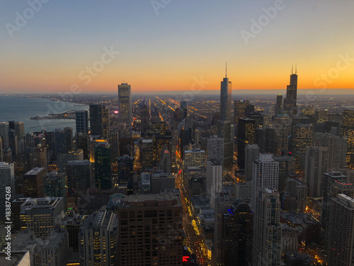 Foto op Canvas Chicago Chicago skyline from above at sunset
