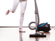Woman legs and vacuum cleaner