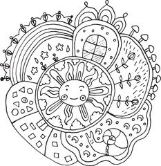 Kid drawn mandala with sun and nature elements - doodle coloring