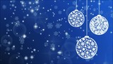 New Year blue background with balls, snowflakes and glowing particles - 183884063