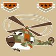 vector cartoon of helicopter gunship - 183908406