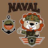 vector cartoon of Lion the navy army