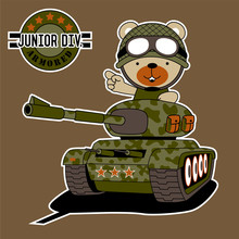 Cartoon Of Cute Soldier On Armored Vehicle Sticker