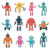 Robot Characters Wall Sticker