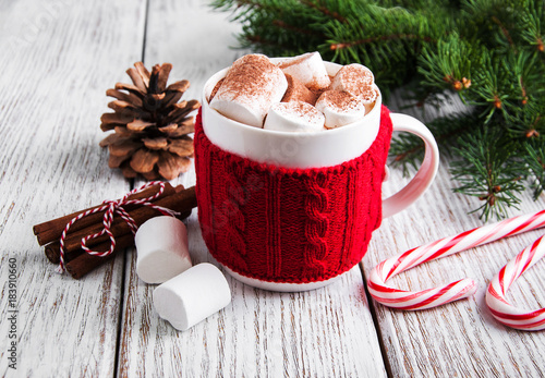 Papiers peints Cafe Christmas cocoa with marshmallow