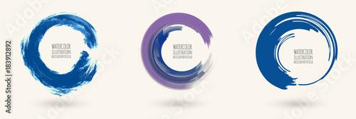 Watercolor circle texture. Vector circle elements