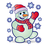 Christmas cheerful snowman in hat and mittens, and around fly snowflakes, cartoon on white background, - 183915469