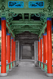 Traditional chinese hallway made out of stone and wood - 183918244