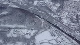Aerial shot from drone of tranquil atmosphere in rural area all covered with white snow and frost in winter, Poland. - 183919409