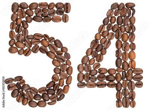 Poster Arabic numeral 54, fifty four, from coffee beans, isolated on white background