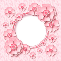 Beautiful vintage round frame with 3d light pink paper cut out flowers. Vector illustration