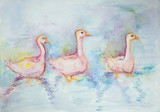 Three pink gooses swimming. The dabbing technique gives a soft focus effect due to the altered surface roughness of the paper. - 183924492