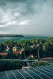 Stormy clouds over the Portoroz at Adriatic sea - 183925495
