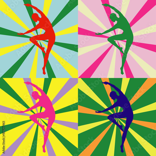 Aluminium Pop Art silhouette of a dancing girl in bright colors