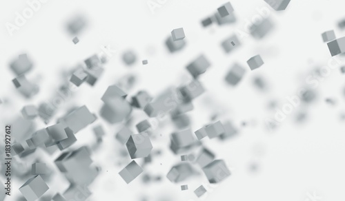 3D Rendering Of Abstract Chaotic Flying Cubes With Soft Focus Background